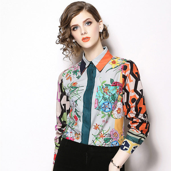 Chiffon Print Vintage Formal bottom SHIRT
