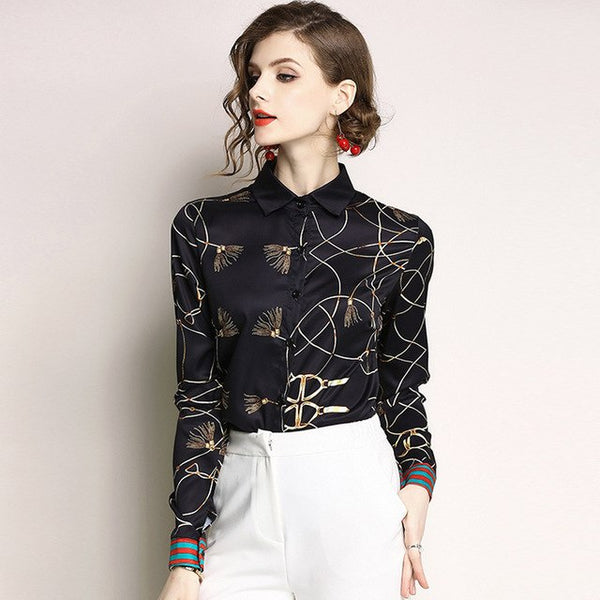 Blouse Chiffon Top Print Vintage Shirt