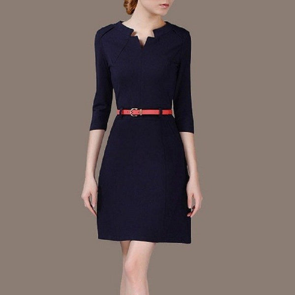 solid vintage Slim frock Spring sashes Dress