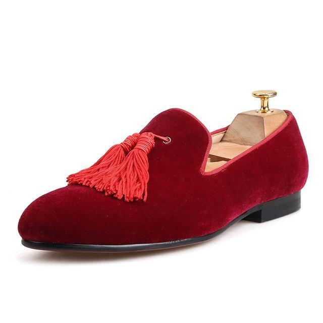 Burgundy  velvet tassel & spikes loafers