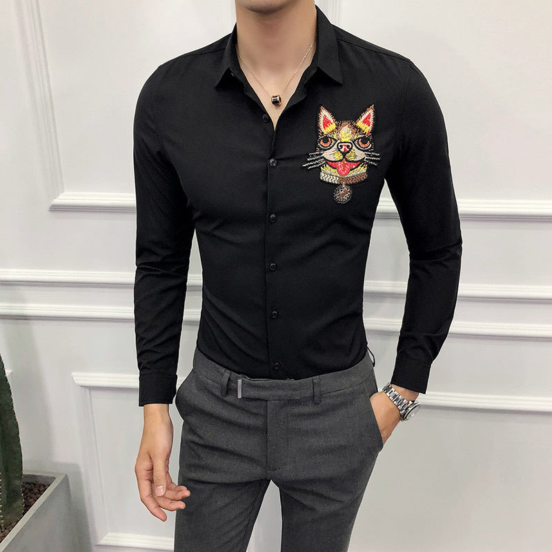 Embroidery Shirt Long Sleeve Slim Fit Shirt