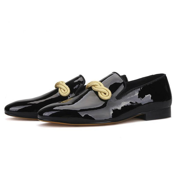 Handmade gold rape designs Patent Leather loafer