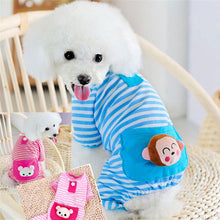 Stripe Cotton Dog Pajamas Blue & White
