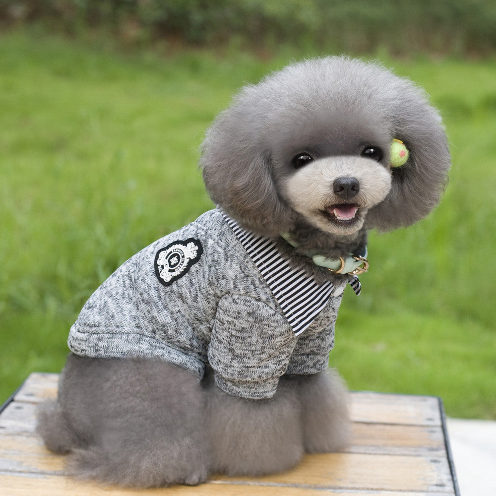 Puppy Dog Gray Sweater Button-Up Shirt