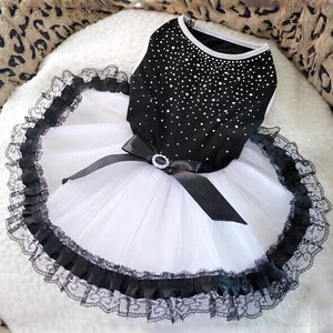 Princess Tutu Dress with Lace and Bow Black & White