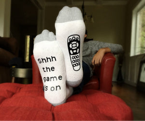 White Game Day Remote Socks