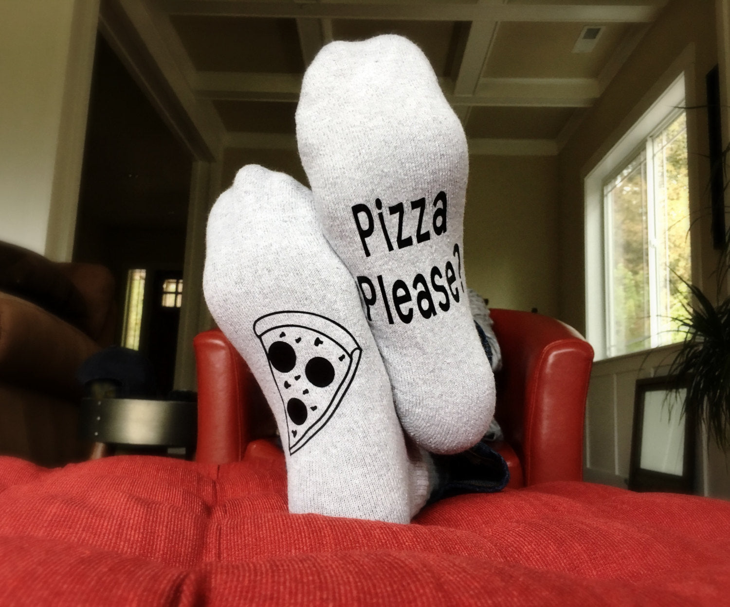 Grey Pizza Please Socks