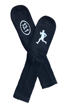 Black Marathon Runner 13.1 Socks