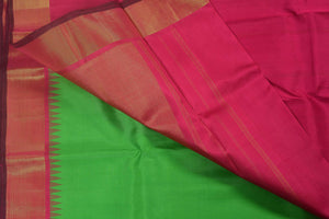Temple Border Handwoven Kanjivaram Pure Silk Saree - Pure Zari - PVG58 - Archives