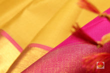 fabric and zari texture of kanjivaram pure silk saree