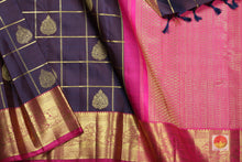 body, border and pallu of purple kanjivaram pure silk saree