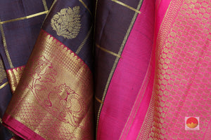 fabric texture of silk yarn & zari motif in  kanjivaram silk saree