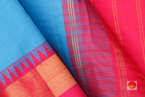 fabric detail of silk yarn & korvai temple border in kanjivaram silk saree