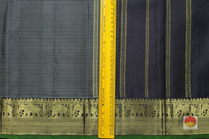 border detail of black self striped kanjivaram pure silk saree