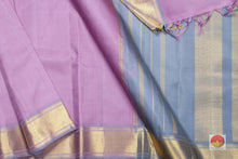 body, border and pallu of lavender kanjivaram pure silk saree