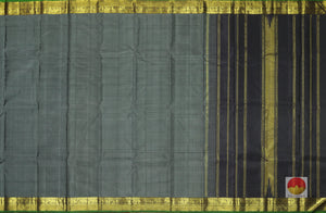 body and pallu of black self striped  kanjivaram pure silk saree