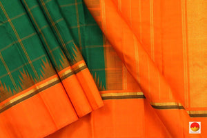 Kanchipuram Silk Saree - Handwoven Pure Silk - Pure Zari - Green & Orange - PV J 3539 - Archives
