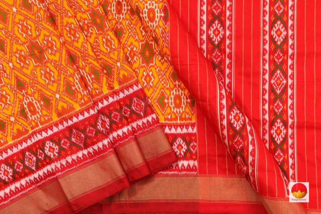 body. border and pallu of pochampally ikkat silk saree