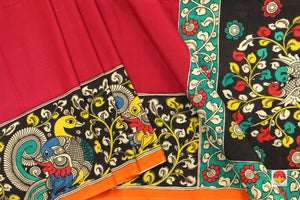body, border and pallu of kalamkari silk saree