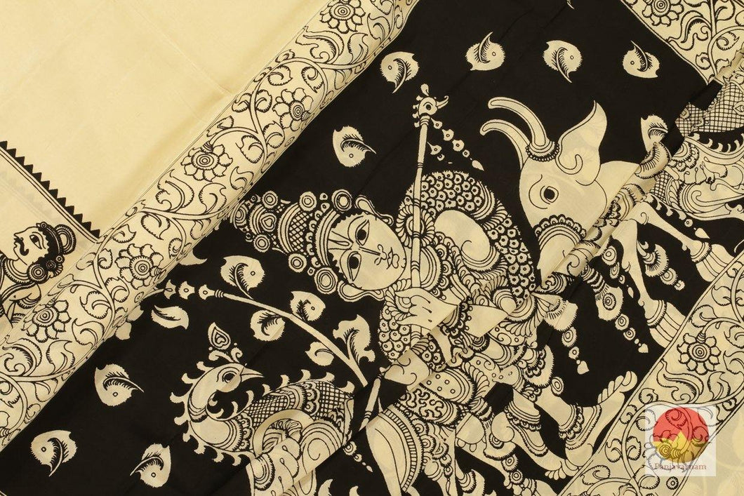 fabric detail of kalamkari  saree