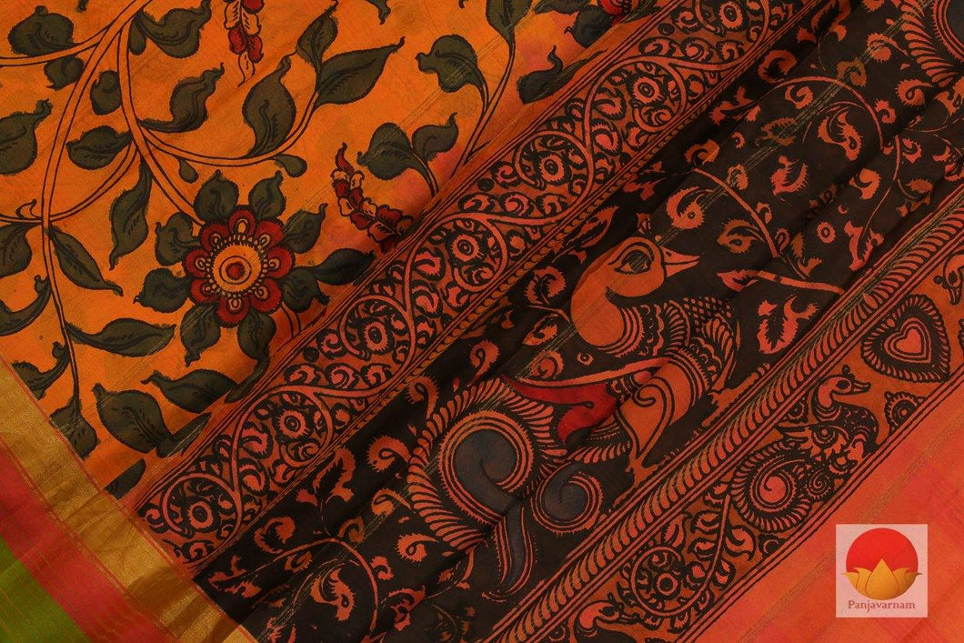 body, border and pallu of kanchipuram kalamkari silk saree