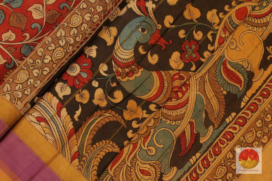 bpdy, border and pallu of kalamkari kanchipuram silk saree