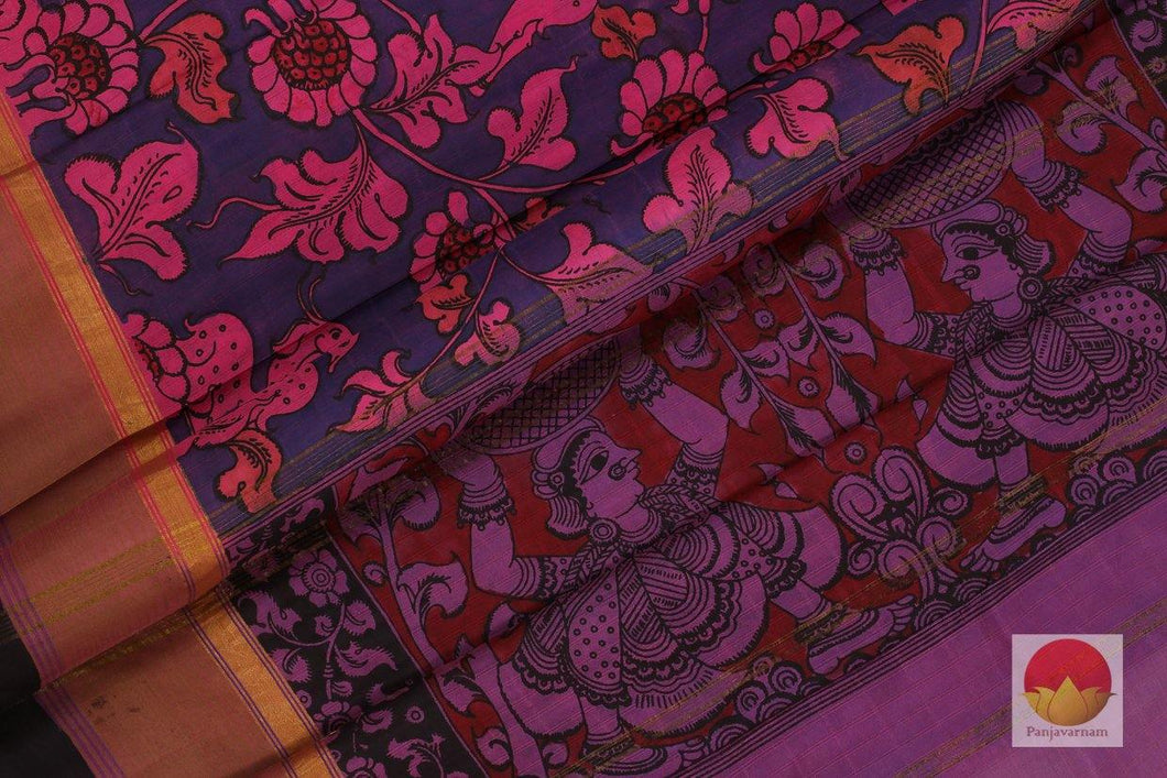 body, border and pallu of kalamkari kanchipuram silk saree