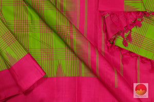 Kanchipuram Silk Saree - Handwoven Pure Silk - Non Zari - Green & Pink - PV K 112 - Archives