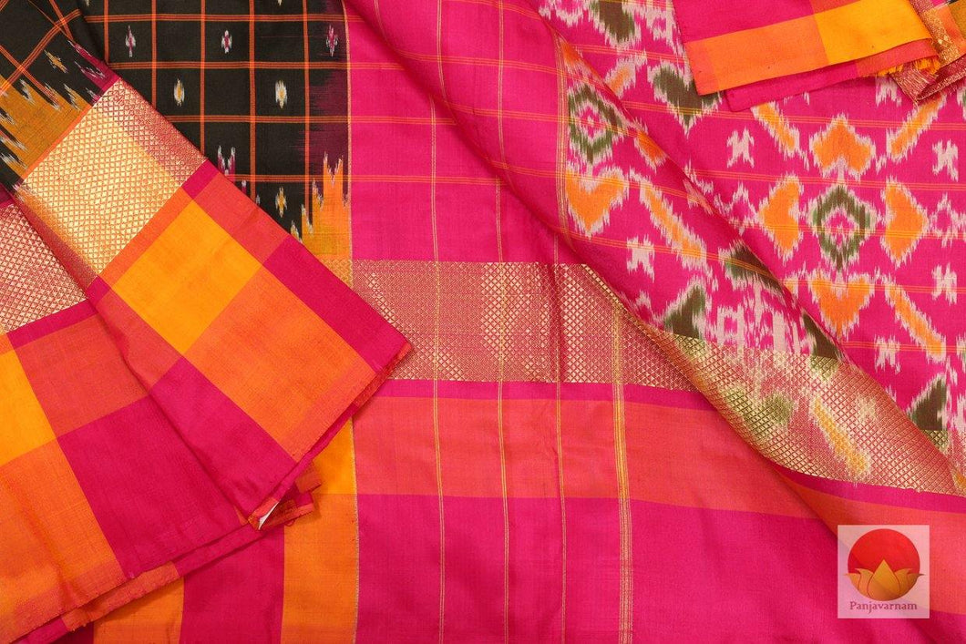 body, border and pallu of pochampally ikkat silk saree