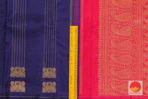 Kanchipuram Silk Saree - Handwoven Pure Silk - Pure Zari - Blue & Pink - PV SRI 1233