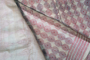 Kantha Work - Handwoven Pure Tussar Silk Saree - PT 21 Archives