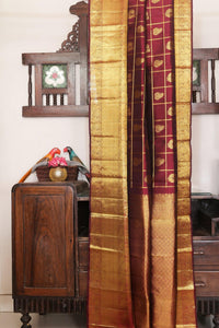 Traditional Design Handwoven Pure Silk Kanjivaram Saree - Pure Zari - PVJU 0618 1478 Archives