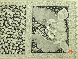 body and pallu of monochrome kalamkari silk saree