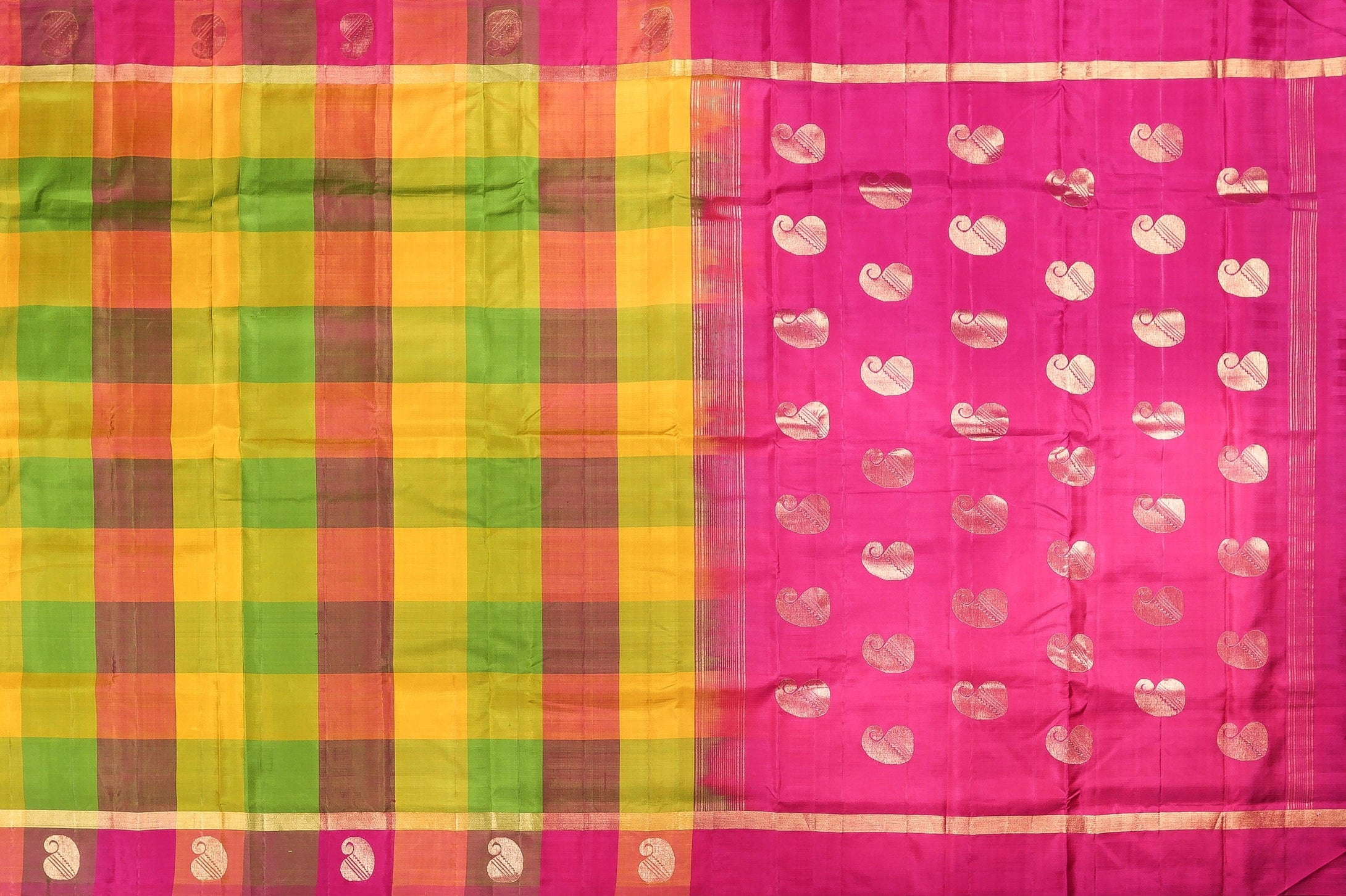 pallu and body of kanjivaram handwoven silk saree