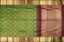 green and maroon traditional design kanjivaram silk saree