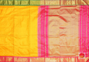 body and pallu of yellow 9 yards kanjivaram saree