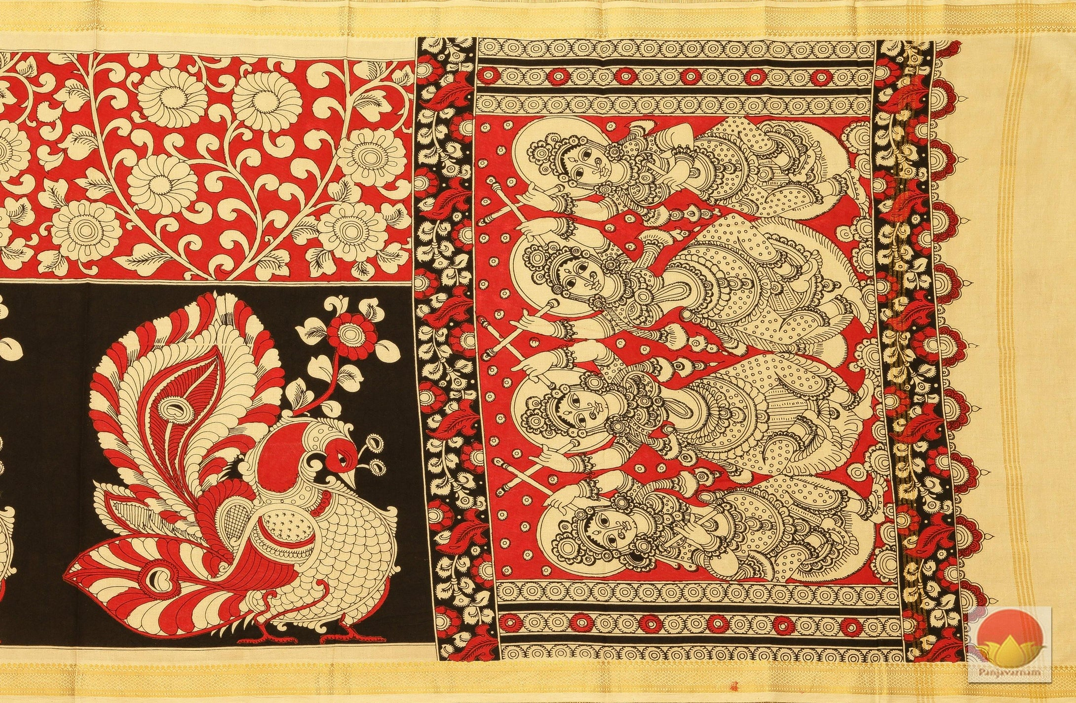 Handpainted Kalamkari Dupatta - Vegetable Dyes - KD 22