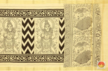 Handpainted Monochrome Kalamkari Dupatta - Vegetable Dyes - KD 27