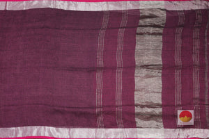 body and pallu of maroon linen saree