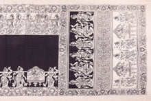 Body, border and pallu design detail of kalamkari silk saree