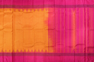 yellow checked body with pink pallu in pure silk kanjivaram saree