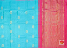 Borderless Ananda Blue and Red Handwoven Pure Silk Saree - Pure Zari - PV L8 Archives