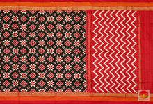 body, border and pallu of pochampally ikkat saree