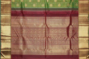 maroon pallu of traditional design kanjivaram silk saree