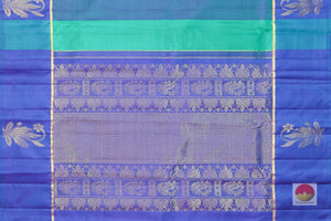 pallu detail of blue kanjivaram silk saree