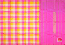 Multicolour Checks - Borderless Handwoven Pure Silk Kanjivaram Saree - Pure Zari - PV G1659