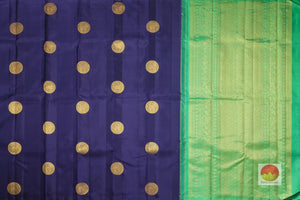 body and pallu full view of navy blue kanjivaram silk saree