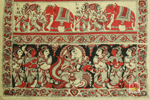 pallu detail of handpainted kalamkari silk saree