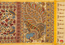 body, border and pallu of kalamkari silk cotton saree