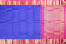 blue and pink traditional design kanjivaram pure silk saree